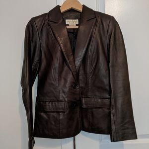 Margaret Godfrey Brown Leather Blazer Jacket